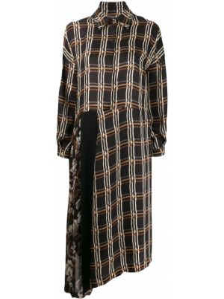 Czarna sukienka długa asymetryczna z długimi rękawami Antonio Marras