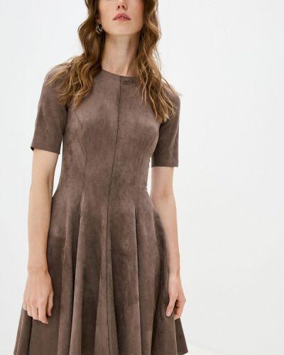 Коричневое кожаное платье Lusio