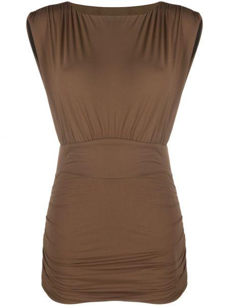 Коричневое приталенное платье без рукавов с вырезом Marysia