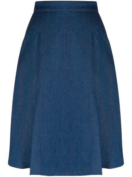 Синяя юбка миди на пуговицах в рубчик Massimo Alba