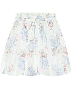 Плиссированная ватная хлопковая белая юбка мини Loveshackfancy