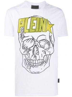 Хлопковая белая футболка с черепами с круглым вырезом Philipp Plein