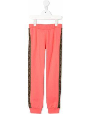 Sportowe spodnie z kieszeniami różowe Fendi Kids