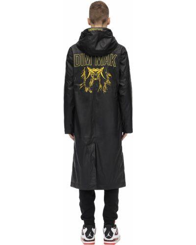 Czarny płaszcz przeciwdeszczowy z kapturem z haftem Dim Mak Collection