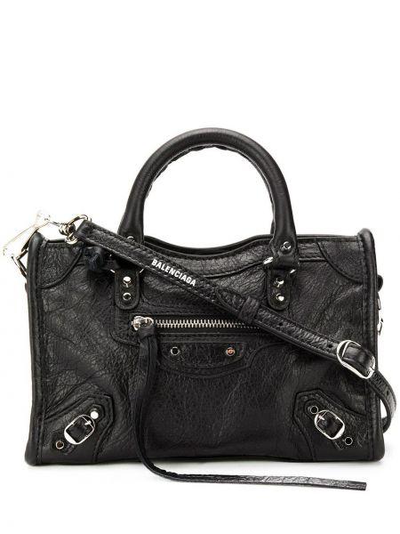 Skórzana torebka z uchwytem czarna Balenciaga
