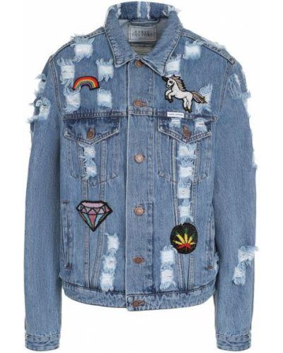 Джинсовая куртка свободная с бисером Forte Couture