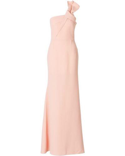 Klasyczna różowa sukienka długa z jedwabiu Roland Mouret