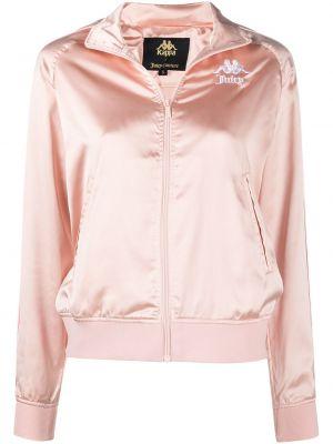 С рукавами розовая длинная куртка с вышивкой Kappa