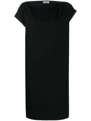 Хлопковое черное платье с вырезом Brunello Cucinelli