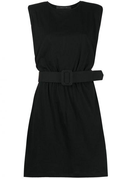 Хлопковое черное платье-рубашка без рукавов Federica Tosi