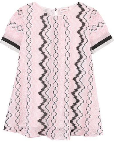 Платье мини розовое в полоску Missoni
