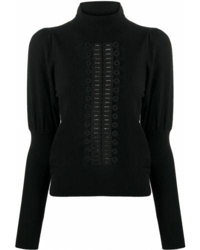 Шерстяной черный джемпер в рубчик с манжетами See By Chloé