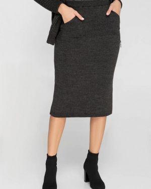 Серая юбка карандаш с рукавом 3/4 Sewel
