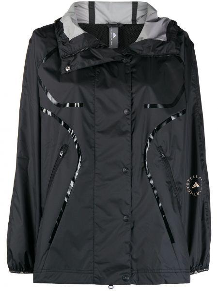С рукавами черное пальто классическое с капюшоном Adidas By Stella Mccartney