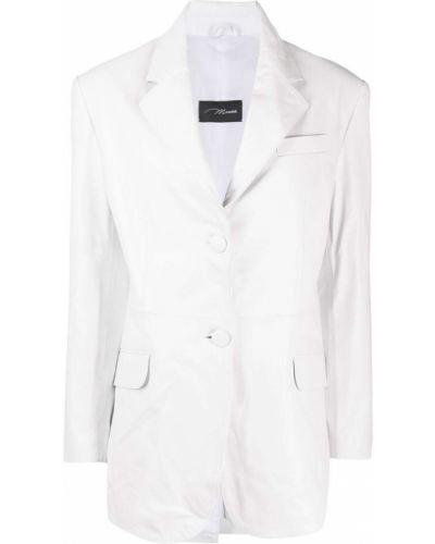 Однобортный белый кожаный удлиненный пиджак Manokhi