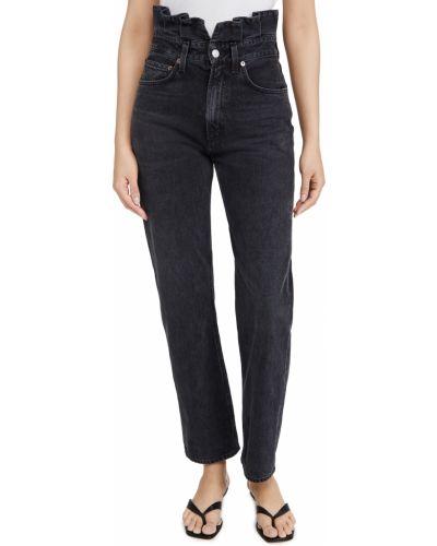 Niebieskie jeansy z wysokim stanem bawełniane Agolde