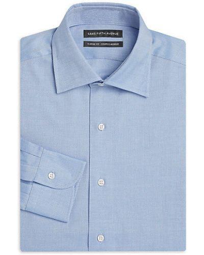 Синее платье макси с длинными рукавами с воротником Saks Fifth Avenue