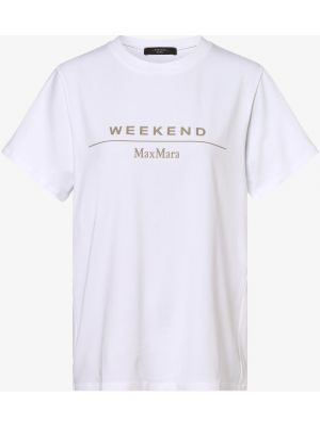 Biały t-shirt z printem Weekend Max Mara