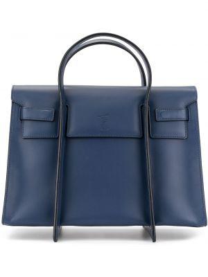 Кожаная синяя сумка-тоут на молнии с карманами Discord Yohji Yamamoto