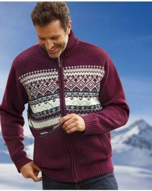 Акриловый свитер с воротником на молнии с рисунком Atlas For Men