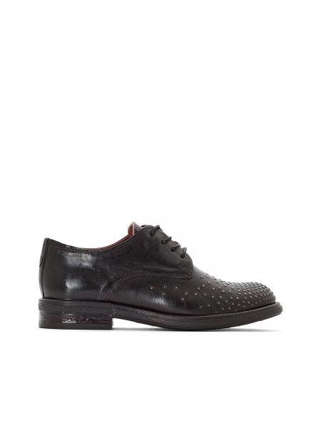 Черные кожаные дерби круглые на шнуровке Mjus