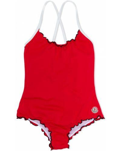 Слитный купальник красный эластичный Moncler Kids