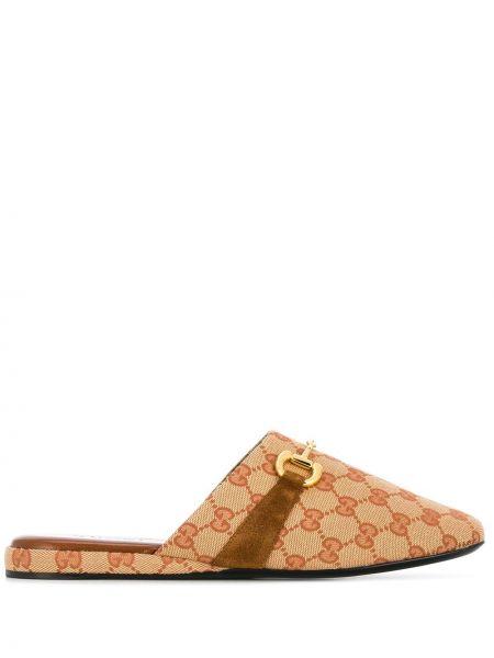 Kapcie materiałowe - beżowe Gucci