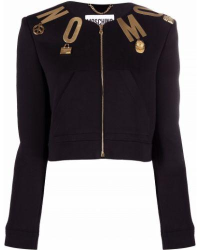 Черный пиджак с принтом Moschino