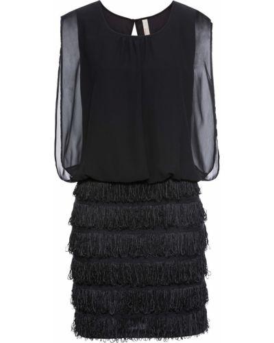 Черное ажурное вечернее платье с бахромой Bonprix