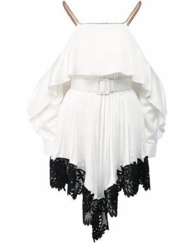 Платье мини с поясом плиссированное Self-portrait