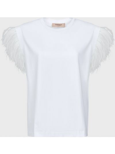 Хлопковая белая футболка Twin-set