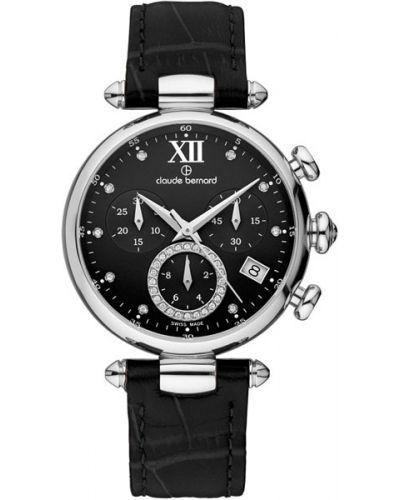 Водонепроницаемые часы черные на кожаном ремешке Claude Bernard
