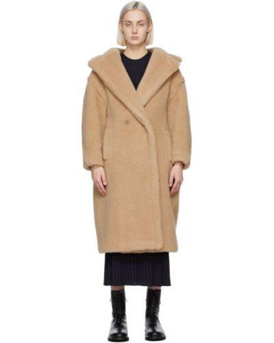 Шерстяное бежевое длинное пальто двубортное Max Mara