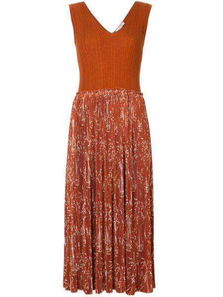 Платье миди плиссированное с V-образным вырезом Nina Ricci