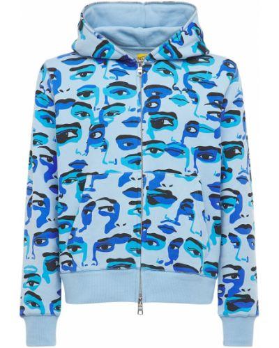 Niebieska bluza bawełniana z printem Kidsuper Studios