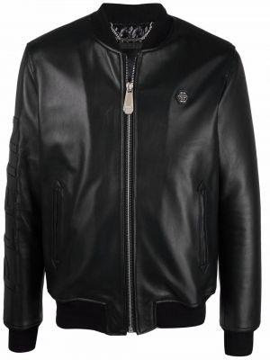 Кожаная куртка на молнии - черная Philipp Plein