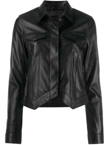 Черная кожаная куртка с воротником Rta