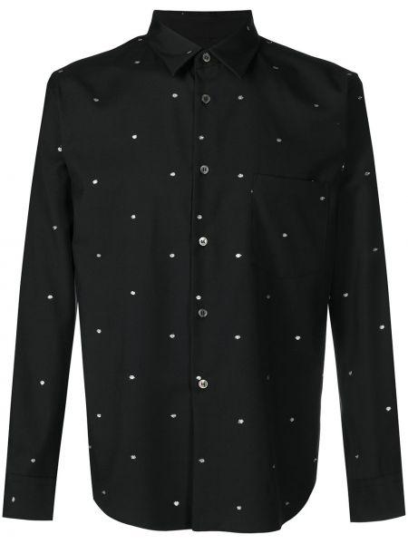 Czarna koszula z haftem z długimi rękawami Comme Des Garcons Homme Deux