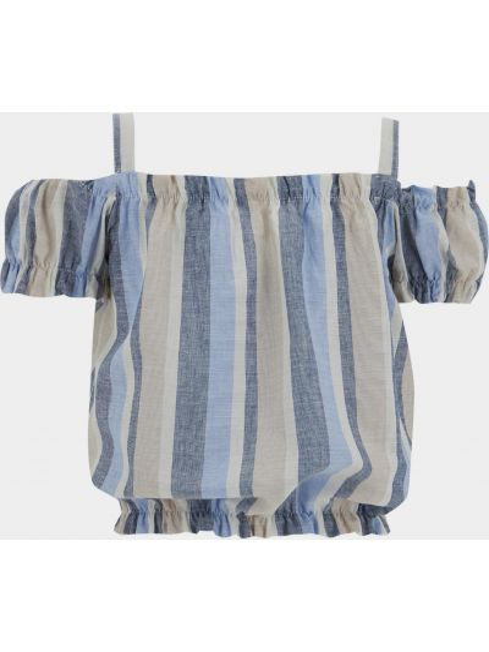 Синяя блузка с короткими рукавами Defacto