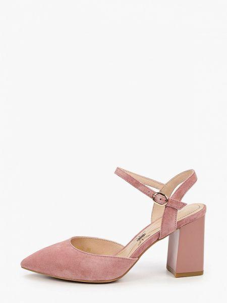 Замшевые туфли с открытой пяткой розовый Pierre Cardin