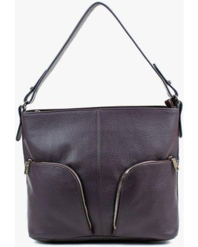 Фиолетовая сумка с ручками из натуральной кожи медведково