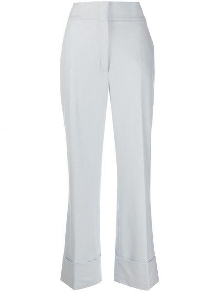 Синие шерстяные брюки с высокой посадкой с потайной застежкой Alberta Ferretti