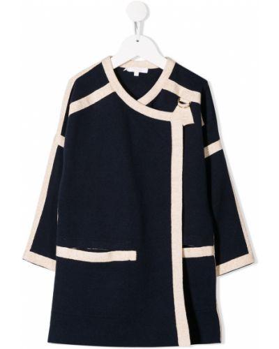 Niebieski płaszcz wełniany z długimi rękawami Chloé Kids
