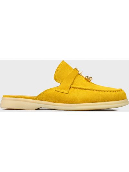 Кожаные шлепанцы - желтые L'estrosa