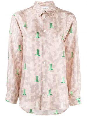 Розовая шелковая рубашка с воротником Lanvin