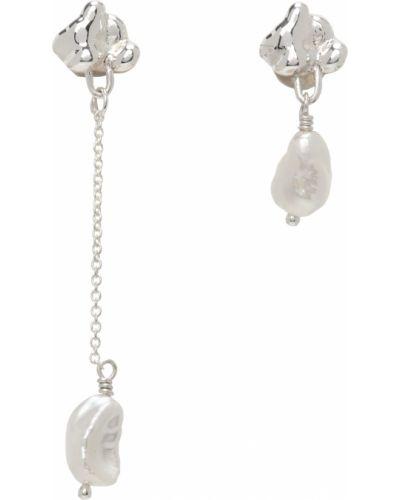 Kolczyki sztyfty srebrne perły asymetryczne Faris