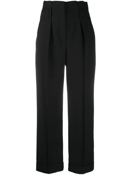 Черные прямые укороченные брюки с поясом с высокой посадкой Brunello Cucinelli
