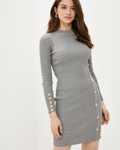 Ватное хлопковое вязаное серое платье Fresh Cotton