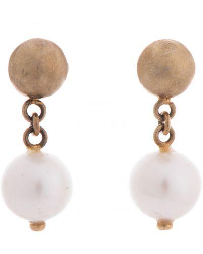 Золотые серьги серебряные с жемчугом Adami & Martucci