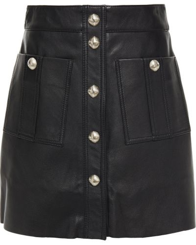 Черная кожаная юбка мини с карманами Maje